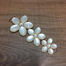 Cabedal Lateral de Flores Branco