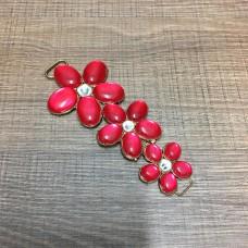 Cabedal Lateral de Flores Vermelho