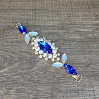 Cabedal Lateral de Strass Azul