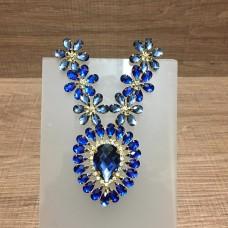 Cabedal Medalhão florido azul
