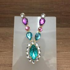 Cabedal medalhão azul e lilás